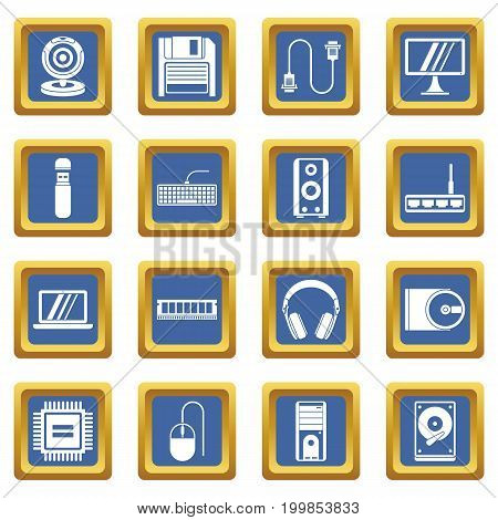Computer icons set in blue color isolated vector illustration for web and any design