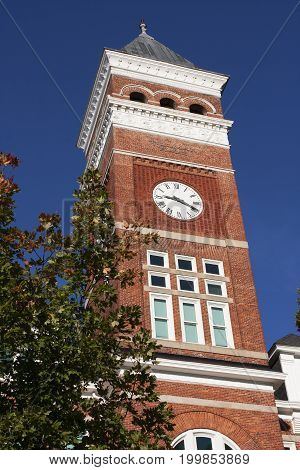 The Clock Tower at Clemson university, South Carolina towers majestically above the campus.