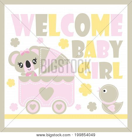 Cute baby koala in baby cart and duck toy vector cartoon illustration for baby shower card design, kid t shirt design, and wallpaper