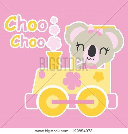 Cute baby koala drives train vector cartoon illustration for baby shower card design, kid t shirt design, and wallpaper