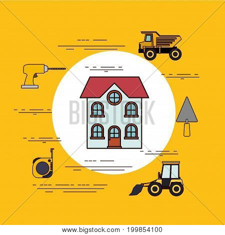 color background circular frame with house facade with two floors and tools for construction around vector illustration