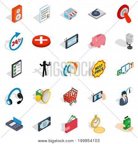 Global communication icons set. Isometric set of 25 global communication vector icons for web isolated on white background