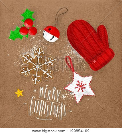 Christmas theme elements biscuit glove bell Christmas tree decoration star lettering merry christmas drawing in vintage style on craft