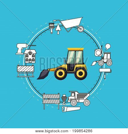color background circular frame with mini earth move and tools for construction around vector illustration