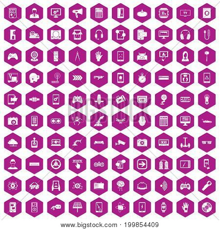 100 gadget icons set in violet hexagon isolated vector illustration