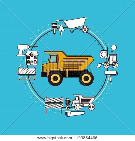 color background circular frame with dumb truck and tools for construction around vector illustration
