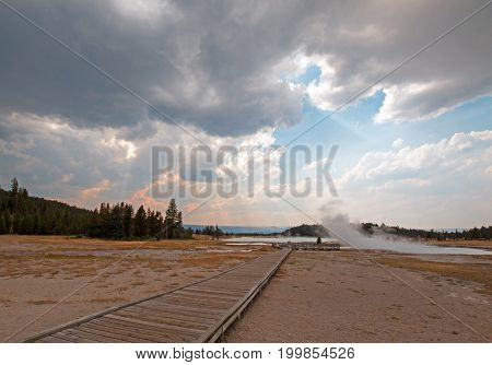 Boardwalk leading to Hot Lake hot spring in the Lower Geyser Basin in Yellowstone National Park in Wyoming United States