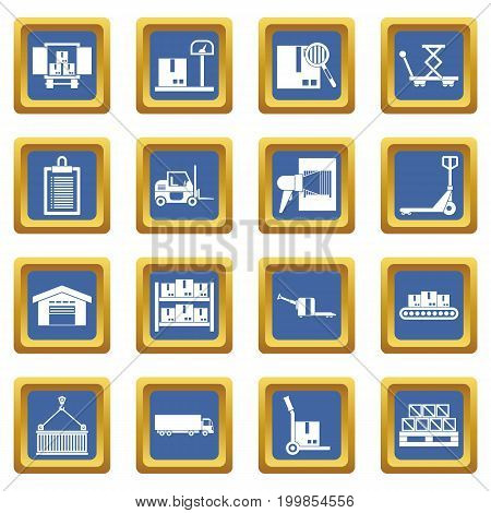 Logistic icons set in blue color isolated vector illustration for web and any design