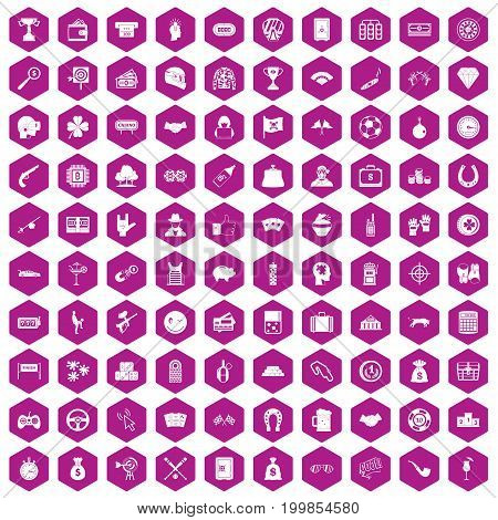 100 gambling icons set in violet hexagon isolated vector illustration