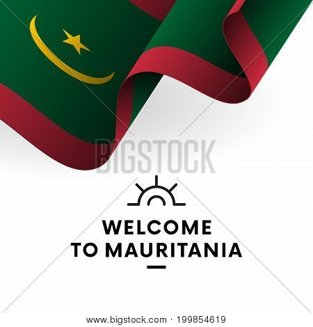 Welcome to Mauritania. Mauritania flag. Patriotic design. Vector illustration.