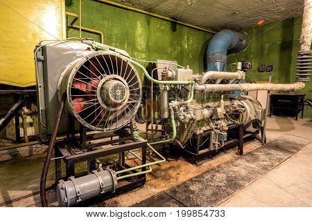 Diesel generator in abandoned soviet bomb shelter