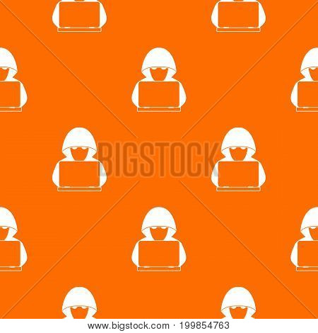 Computer hacker with laptop pattern repeat seamless in orange color for any design. Vector geometric illustration