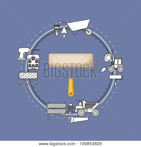 color background circular frame with paint roller and elements for construction around vector illustration