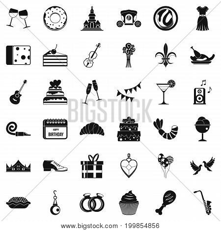 Banquet icons set. Simple style of 36 banquet vector icons for web isolated on white background
