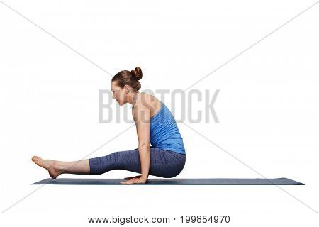 Woman doing Hatha asana Utpluti dandasana - lifted stuff pose isolated on white background