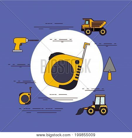 color background circular frame with measuring tape and tools for construction around vector illustration