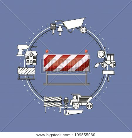 color background circular frame with traffic barrier and tools for construction around vector illustration