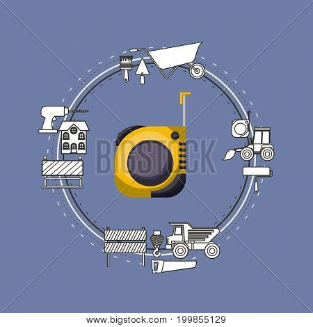 color background circular frame with measuring tape and elements for construction around vector illustration