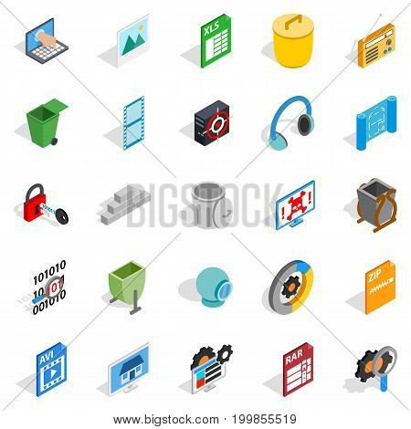 Binary code icons set. Isometric set of 25 binary code vector icons for web isolated on white background