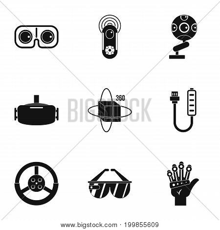 VR game equipment icons set. Simple set of 9 VR game equipment vector icons for web isolated on white background