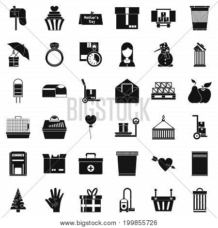 Box icons set. Simple style of 36 box vector icons for web isolated on white background