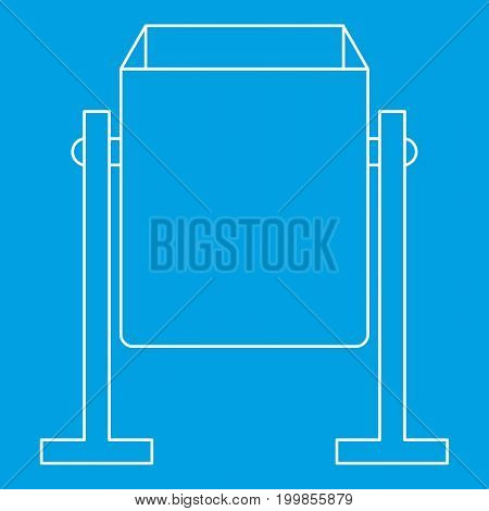 Metal dust bin icon blue outline style isolated vector illustration. Thin line sign