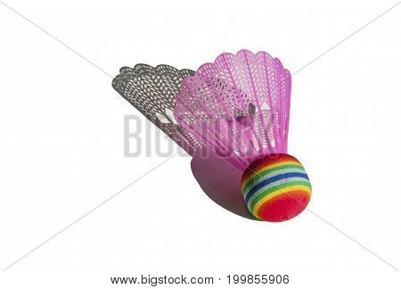 Pink shuttlecock for playing badminton isolated on white