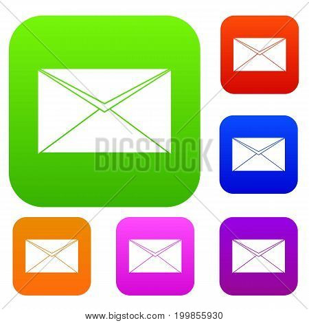Closed envelope set icon in different colors isolated vector illustration. Premium collection
