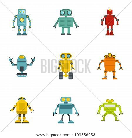 Robot icons set. Flat set of 9 robot vector icons for web isolated on white background