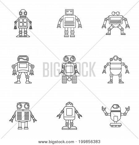 Robot icons set. Outline set of 9 robot vector icons for web isolated on white background