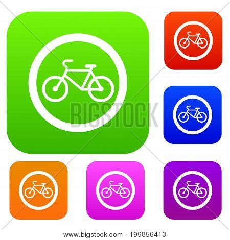 Travel by bicycle is prohibited traffic sign set icon in different colors isolated vector illustration. Premium collection