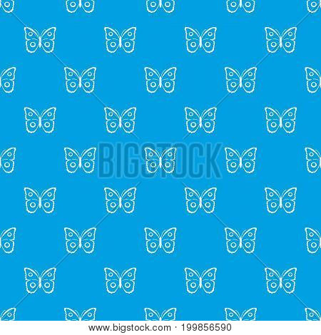 Butterfly peacock eye pattern repeat seamless in blue color for any design. Vector geometric illustration