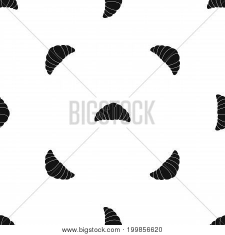 Croissant pattern repeat seamless in black color for any design. Vector geometric illustration