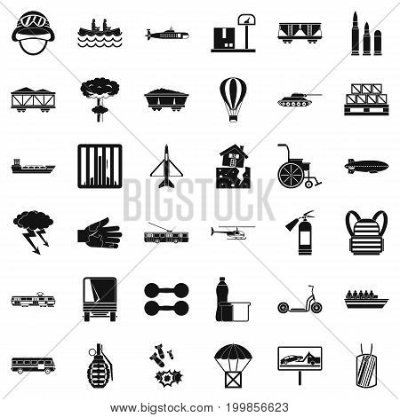 Burden icons set. Simple style of 36 burden vector icons for web isolated on white background