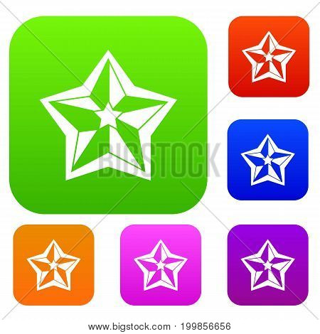 Star set icon in different colors isolated vector illustration. Premium collection