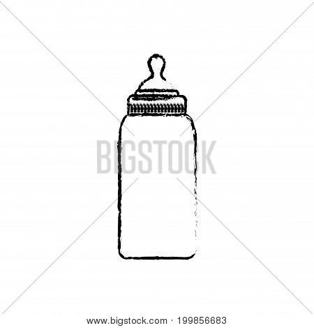 white background with monochrome blurred baby bottle vector illustration