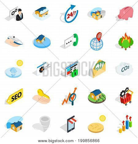 Telephone communications icons set. Isometric set of 25 telephone communications vector icons for web isolated on white background