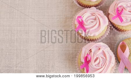 Rose flower cupcakes for pink ribbon day October Pink copy space background Breast cancer awareness