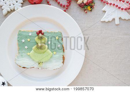 Fruit Christmas Tree On Mermaid Spirulina Blue Creamcheese Toast Breakfast, Fun  Food Art For Kids