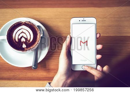 Bangkok, Thailand - August 16, 2017 : Apple iPhone 6 with Google Gmail app logo on the display. Gmail is a most popular free Internet e-mail service provided by Google.