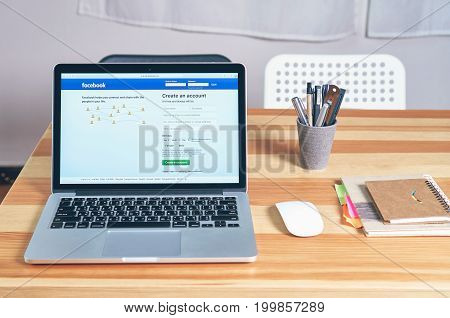 Bangkok, Thailand - August 16, 2017 : Login Screen Facebook icons on apple macbook pro. largest and most popular social networking site in the world.