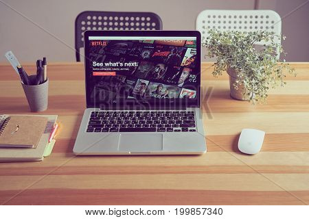 Bangkok, Thailand - August 16, 2017 : Netflix app on Laptop screen. Netflix is an international leading subscription service for watching TV episodes and movies.