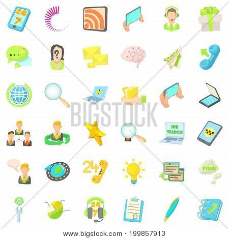 Call center icons set. Cartoon style of 36 call center vector icons for web isolated on white background