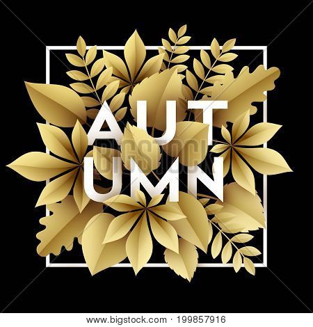 Fall background design with golden paper cut autumn leaves. Vector illustration EPS10