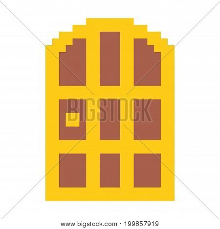 colorful pixelated door antique in wooden with golden structure vector illustration