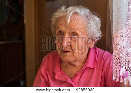 Older woman portrait close-up.