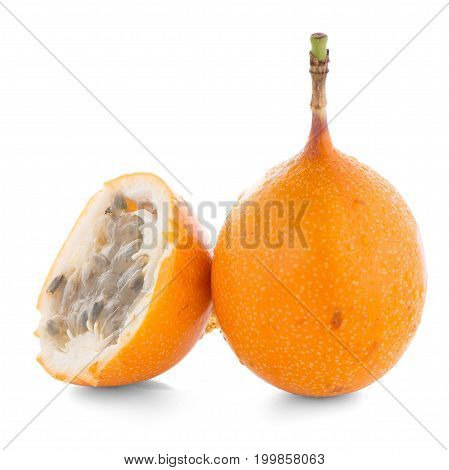 Passion fruit maracuja granadilla on white background.