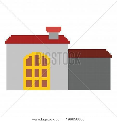 colorful pixelated house with chimney and big door vector illustration