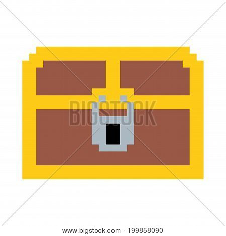 colorful pixelated treasure chest with padlock vector illustration