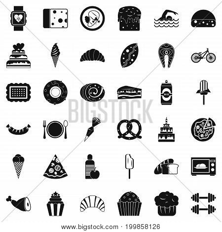 Calories icons set. Simple style of 36 calories vector icons for web isolated on white background